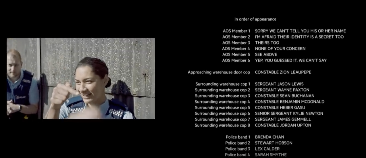 Image of the credits scroll at the end of the New Zealand police recruitment ad