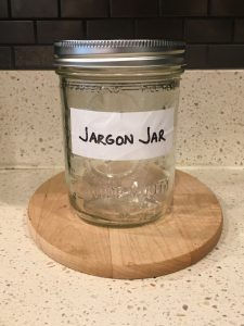 image of the empty Bugle Jargon Jar