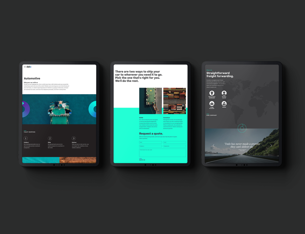 Black iPad Homepage Shipping Screen examples