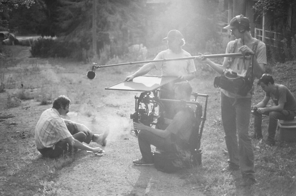 Saint Frank behind the scenes production still of cast and crew