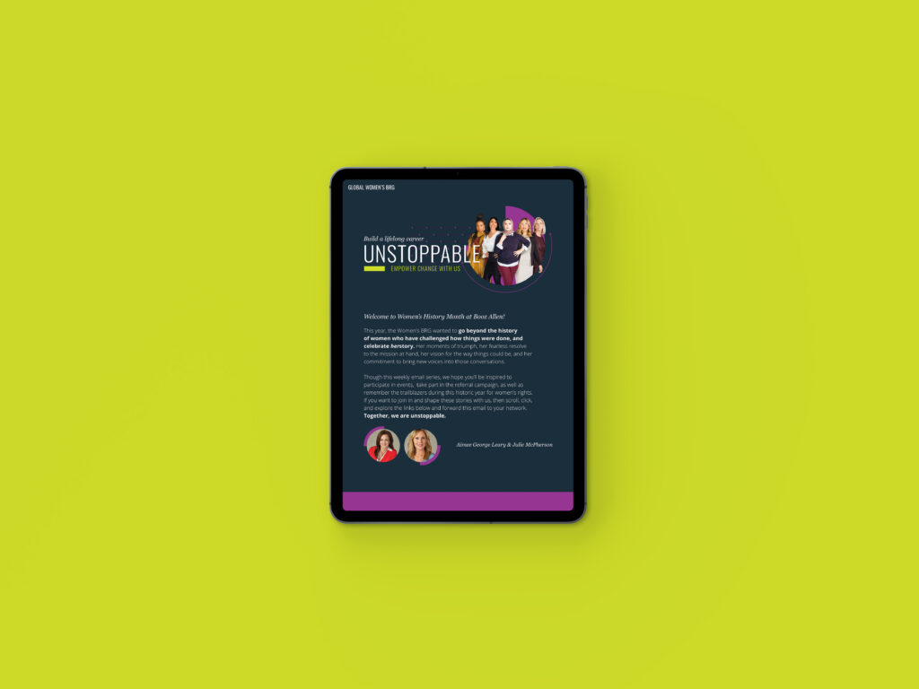 Booz Allen Unstoppable Women's HerStory Campaign iPad email over yellow